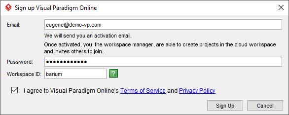 Entering sign-up details