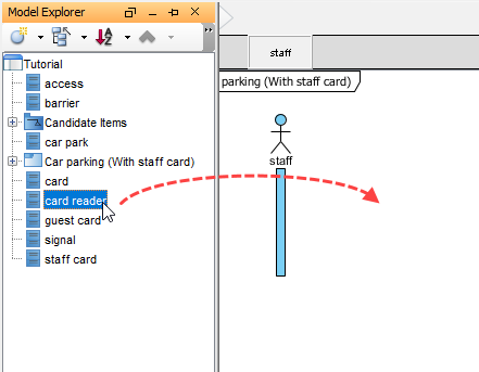 Drag reader class onto diagram