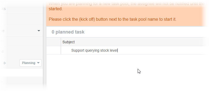 Entering task subject